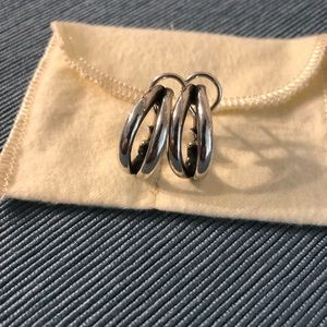 James Avery Silver Crescent French Clip Earrings